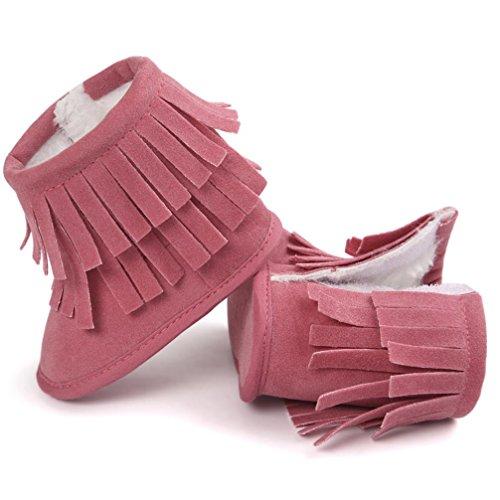 Zapatos para bebé, Culater Patucos de doble Capa 0~18 meses Rosa