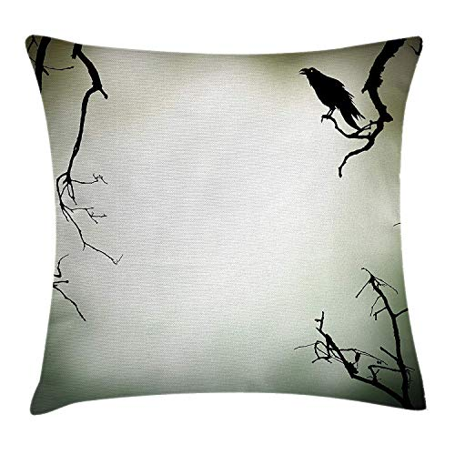 Dryer Infused (DDBACK Horror House Decor Throw Pillow Cushion Cover by, Crow Bird on Leafless Branch Cemetery Death Spirit Animal Evil Funeral, Decorative Square Accent Pillow Case, 18 X 18 Inches, Sepia Black)