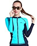 LANBAOSI Women UPF50+ Zip-Front Rash Guard Long Sleeve Swimsuit Surf Top Turquoise Large