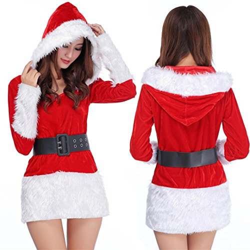 AMA(TM) Women Christmas Costume Xmas Party Hooded Fancy Dress Outfit (Red)