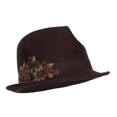 SS Hat Flower Embroidered Band Wool Felt Fedora - Brown OSFM at ... 44ae2a80f08