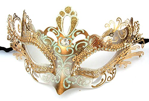 Venetian Gold Mask & Crystal White (Laser Cut White & Gold Venetian Mask Crystal Halloween Mardi Gras Masquerade)