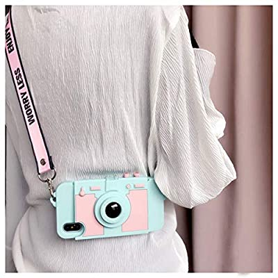 UnnFiko Wallet Case for iPhone Xs, Cute Camera Design, Purse Flip Card Pouch Stand Holder Cover Case with Long Shoulder Strap