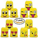 Konsait Emoji Bags for Emoji Party Supplies(12Pack), Emoji Drawstring Backpack Shoulder Bag Bulk Assorted Emoticon Party for Boys Girls Kids Birthday Candy Baby Shower Emoji Party Favors Gift