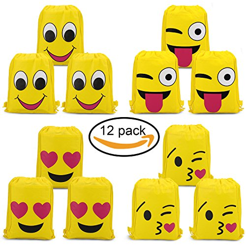 Konsait Emoji Bags for Emoji Party Supplies(12Pack), Emoji Drawstring Backpack Shoulder Bag Bulk Assorted Emoticon Party for Boys Girls Kids Birthday Candy Baby Shower Emoji Party Favors Gift by Konsait (Image #7)