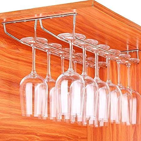 WLABCD Bar Bar Rack Restaurante Montado en la Pared Botella de Vino Rack, Rack de Copa de Vino Rack de Copa de Vino, 1 Fila Metal Tallo de Vino Soporte de Vidrio Perspago de Gafas de Secado,2 Filas (