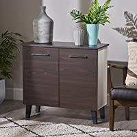 Willson Modern 3-Shelf Walnut Finished Faux Wood Cabinet with Sonoma Oak Interior