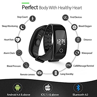 UAGK Fitness Tracker/Smart Bracelet, Smart Watch Waterproof Pedometer Activity Tracker with Sleep Monitor, Heart Rate Monitor, Blood Pressure/Oxygen Monitor Bluetooth 4.0 for iOS & Android Phones