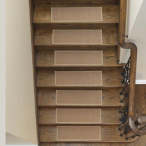 Ottomanson Rubber Non-Slip Carpet Stair Treads-Machine Washable Area Rug, x Dark Beige