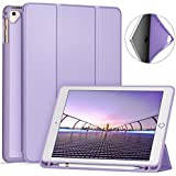 Ztotop Newest iPad 9.7 Inch 2018 Case with Pencil Holder - Lightweight Soft TPU Back Cover and Trifold Stand with Auto Sleep/Wake, Protective for Apple iPad 6th Generation(A1893/A1954),Light Purple