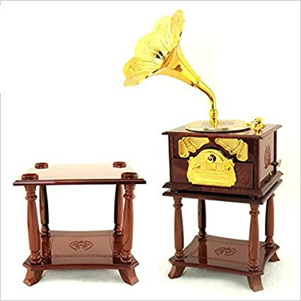 3dff6b575 Amazon.com: Wind up Music Box Vintage Look Music Box with Jewelry Box -  Table Desk Decoration and Gift (Trumper Horn, Brown)