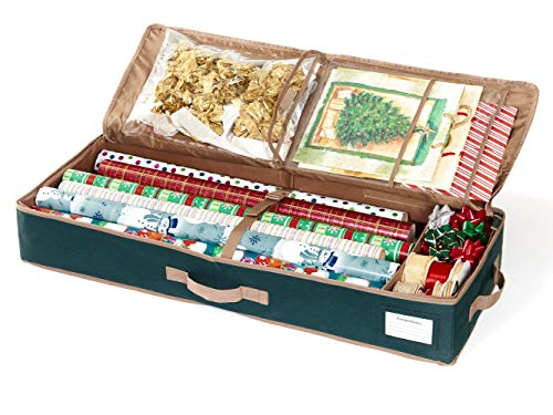Covermates - Premium Gift Wrap Organizer - Holds up to 15 Rolls + Accessories - 3 Year Warranty - Green - Gift Wrap Collection