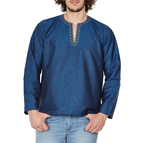 Traditional Wear Loose Fit Airy Comfortable Kurta Shirt For Men Embroidered Indian 46 - Indian Online Shopping
