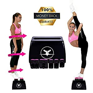 STUNT STAND Cheerleading Balance & Flexibility Stunt Training Equipment - Increase Stunt Awareness SAFELY on the Ground - FREE Training Video Links Included - Black w/ Pink