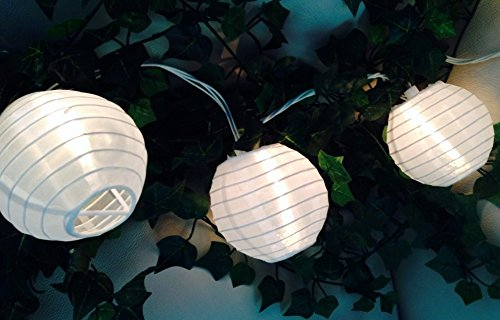 White Paper String Lights - Spring Rose(TM) White Paper Lantern Party String Lights. These Are Perfect For Wedding Decorations. Great For Small Get-Togethers or Large Events. Be Sure You Add These to Your List of Party Supplies!!!