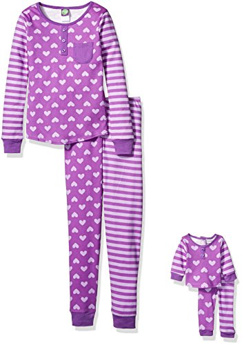 Dollie & Me Little Girls' Hearts and Stripes Print Snugfit Sleepwear Set, Purple, (Stripes Toddler Doll)
