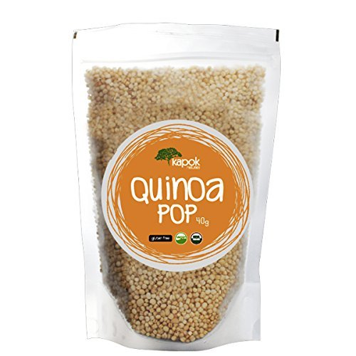 Kapok Naturals NEW Organic Quinoa Pop, A Great Healthy Snack or Organic Cereal Choice, These Quinoa Puffs are a Natural Gluten Free Snack, Gluten Free Cereal or Healthy Vegan Snack option.