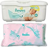 Pampers Baby Wipes Tub, Sensitive 64 ct + Bonus Refill 64 Pack Bundle (128 Diaper Wipes in Total)