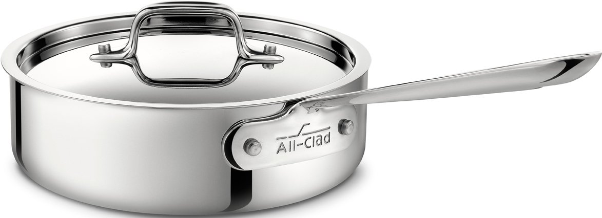 All-Clad 4402 Stainless Steel Tri-Ply Bonded Dishwasher Safe Saute Pan with Lid / Cookware, 2-Quart, Silver