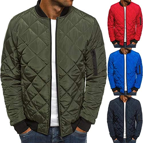 Jacket Quilted Collar - maledery Men's Stand Collar Quilted Bomber Jacket Warm Padded Outdoor Diamond Puffer Coat