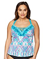 Coastal Blue Women's Plus Size Lace Up Front Tankini Top, Ikat, 2X (20W-22W)