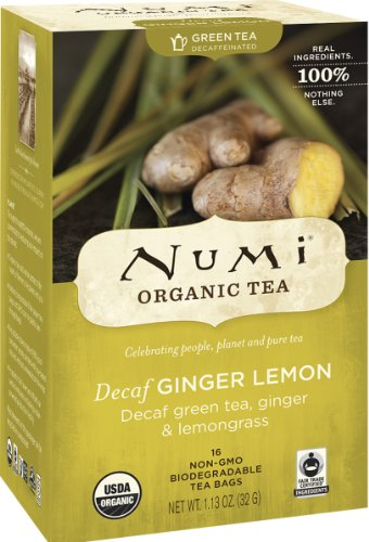 Numi Organic Tea Decaf Ginger Lemon, 16 Count Box of Tea Bags, Decaf Green Tea (Packaging May Vary)