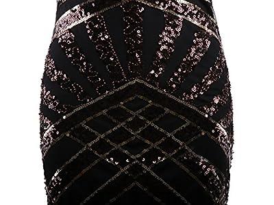 Vijiv Vintage 1920s Embellished Art Nouveau Fringe Sequin Beaded Flapper Dress