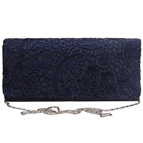 Lace blue Quality Clutch Bag Purse Wiwsi Evening navy Evening High Party Bags Satin Hollow R8xwOp