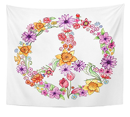 """Emvency Tapestry Floral Watercolour Peace Flowers Anti War Hippy Love Painting Movement Sign Home Decor Wall Hanging 50"""" x 60"""" Inches Print For Living Room Bedroom Dorm"""