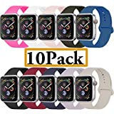 YANCH Compatible with for Apple Watch Band 38mm 40mm, Soft Silicone Sport Band Replacement Wrist Strap Compatible with for iWatch Nike+,Sport,Edition,S/M,Size,10 Pack