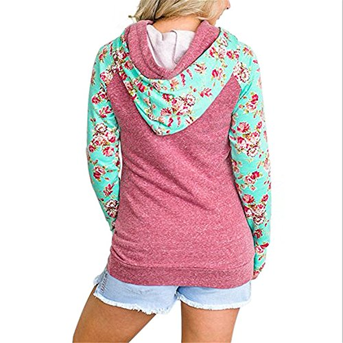 Sweatshirt Pullover Hoodie Asymmetric Red Floral Printed Zip Gallery Your Women's Maniac Sporty zUY6qa