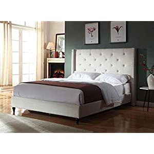 Home Life Premiere Classics Cloth Light Beige Cream Linen 51″ Tall Headboard Platform Bed with Slats – Complete Bed 5 Year Warranty Included 007
