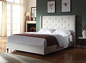 """Home Life Premiere Classics Cloth Light Beige Cream Linen 51"""" Tall Headboard Platform Bed with Slats Queen - Complete Bed 5 Year Warranty Included 007"""