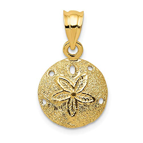14k Yellow Gold Solid Sand Dollar Sea Star Starfish Pendant Charm Necklace Man Shore Shell Fine Jewelry Gift For Dad Mens For Him ()