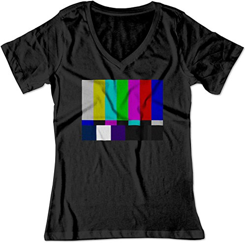 BSW Women's No Channel Color Bars Vintage Big Bang Theory V-Neck Shirt LRG Black