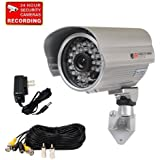 VideoSecu CCTV Bullet Security Camera Built-in 1/3 Effio CCD Outdoor 700TVL High Resolution Day Night 28 IR Infrared LEDs for DVR Home Surveillance System with Bonus Power Supply and Cable C81