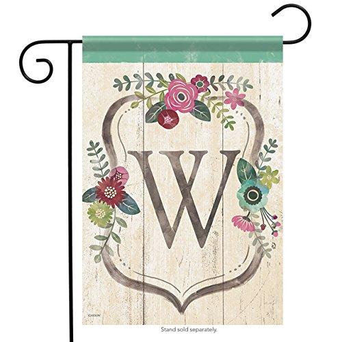 Carson Garden Flag - Classic Floral Monogram W