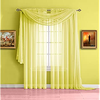 Amazon Com 1 X Monagifts 2 Panels Bright Yellow Sheer