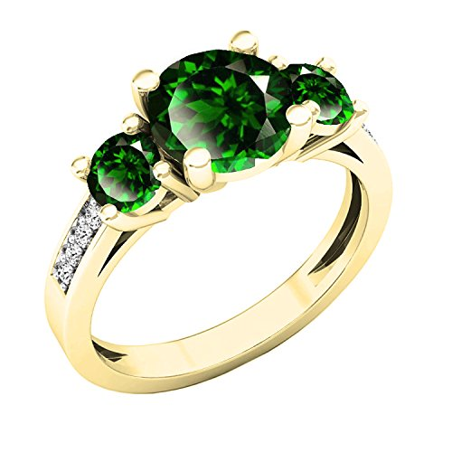(Dazzlingrock Collection 18K 7 MM Round Lab Created Emerald & Diamond 3 Stone Ring, Yellow Gold, Size 5)