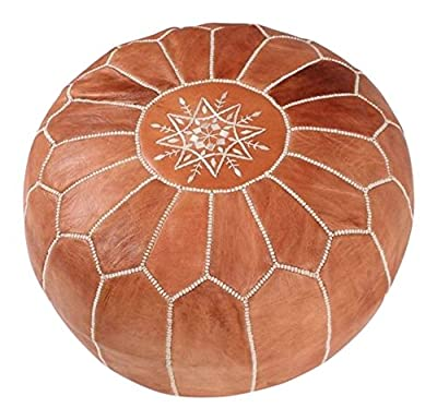 La Bohemia | Beautiful Handmade Real Moroccan Tan Brown Leather Footstool Pouf from Marrakech | Colour Tan Brown with White Stitching | Delivered unstuffed