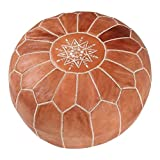 La Bohemia | Beautiful Handmade Real Leather Footstool from Marrakech | Colour Tan Brown with White Stitching | Delivered unstuffed