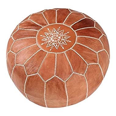 Maison De Marrakech | Beautiful Handmade Real Leather Footstool from Marrakech | Colour Tan with White Stitching | Delivered unstuffed