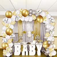 Partykindom Balloon Arch Kit, 16Ft Balloon Garland Kit 100Pcs Latex Balloons, White Silver Golden Balloons, Clear Balloons with Confetti for Wedding Birthday Baby Shower Graduation Party Decorations