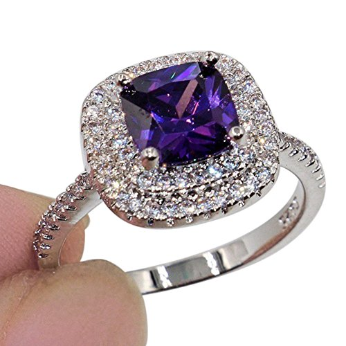 Pengyu Shiny Large Square Faux Topaz Ring Women Party Banquet Costume...