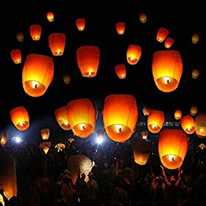 50 Pcs Impassioned Fashionable Chinese Lantern Night Light Wish Party Wedding Sky Lanterns Environment friendly Type White Paper