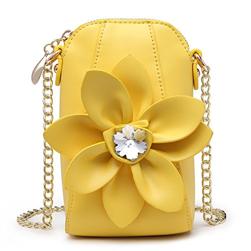 Purse Satchel Pu Girl's Wallet Leather Yellow Womens With Flower SUNROLAN Small 3D for bag Crossbody vqwWdYP