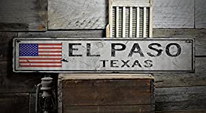 El Paso Texas Rustic Hand Made Vintage Wooden Sign Us Flag X 36 Inches