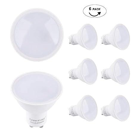 Greenforg Pack de 6 Bombillas LED GU10, 6.5W COB LED Equivalente a 50W Lámpara Incandescente, Blanco Cálido 3000K, 560 Lumen, AC 175-265V, 3 años de ...