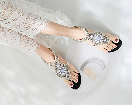 Chaussures Clip Perlée Blanc Herringbone Flats Boucle Sandales Toe Femme Bohême Avec rqEtr