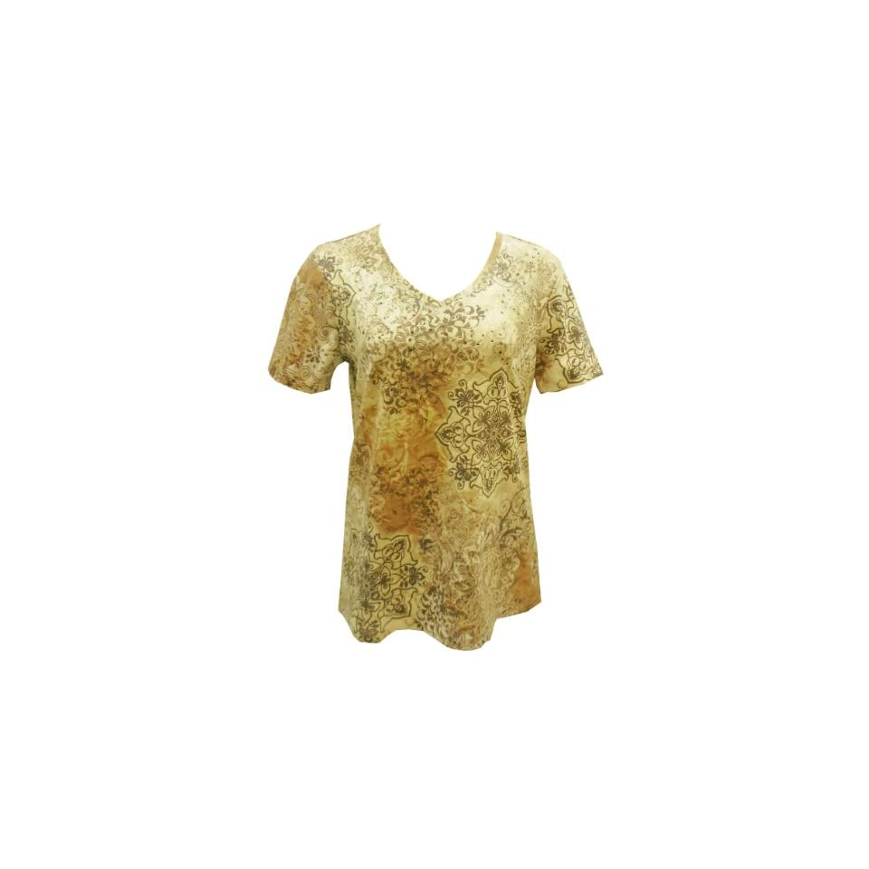 NEW Nicole Miller Womens Short Sleeve V Neck T Shirt Paisley Top Beige Small